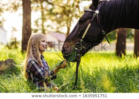 十代の少女 · 立って · 馬 · 安定した · 子 · 訓練 - ストックフォト © photography33