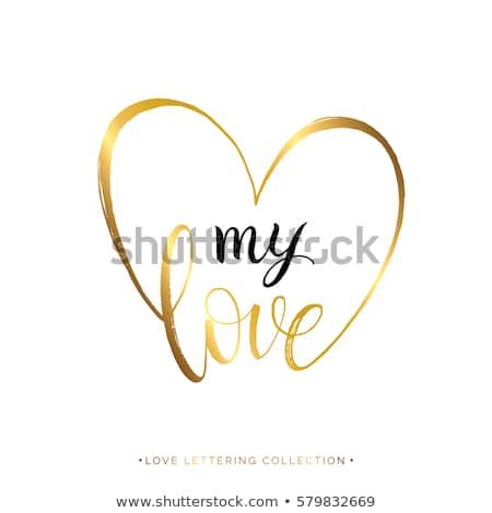Meu coração dourado 3D vermelho cartas Foto stock © marinini
