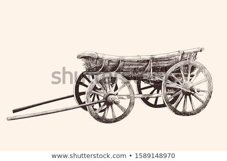 Ahşap araba eski tekerlek çit Stok fotoğraf © bendzhik