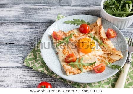 Crêpe diner vork eten lunch maaltijd Stockfoto © M-studio