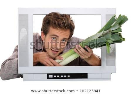 Férfi képernyő étel internet laptop háló Stock fotó © photography33