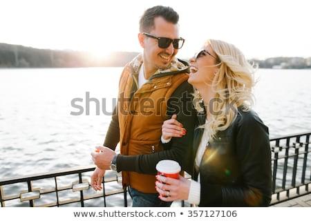 feliz · céu · homem · mar · diversão - foto stock © get4net