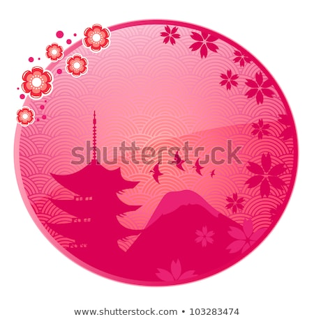 glossy icon with japanese view and space for text stock photo © ayelet_keshet