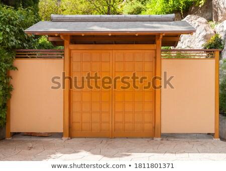 Japonais entrée porte ciel bleu bâtiment Photo stock © 3523studio