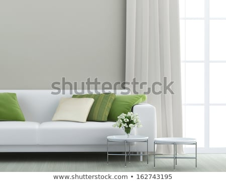White sofa with green pillows  Stock photo © Ciklamen
