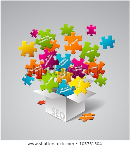 vector box full of colorful puzzles stock photo © orson
