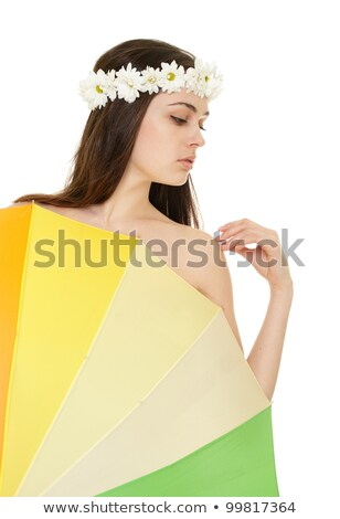 young woman profile in chamomile wreath with colorful umbrella stock photo © pekour