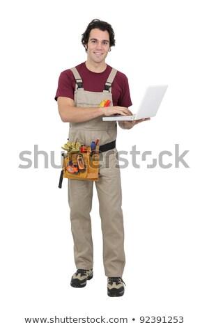 Carpenter stood with laptop Stock photo © photography33