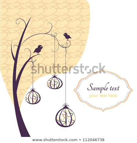 birds on autumn tree in heart nest vector stock photo © beaubelle