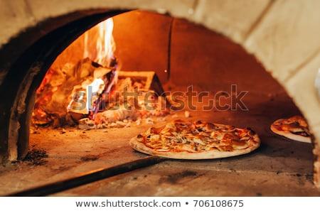 Stock fotó: Tégla · pizza · sütő · kép · tűz · divat