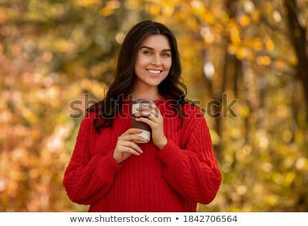 Najaar jonge vrouw koffie eps10 sexy Stockfoto © involvedchannel