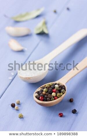 Pimenta em grão alho sal do mar rústico imagem comida Foto stock © Melpomene