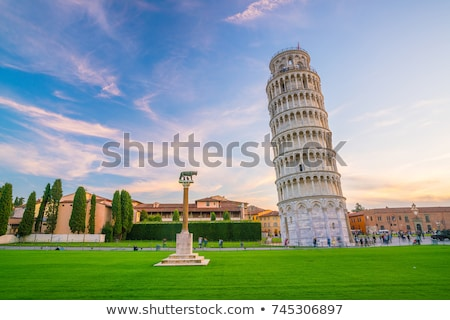 The Leaning Tower of Pisa with the cathedral stock photo © jakatics