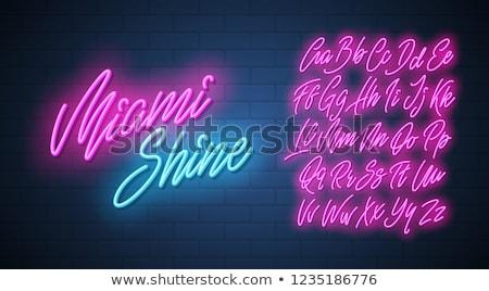izzó · neon · betűtípus · fényes · i · betű · fekete - stock fotó © deyangeorgiev