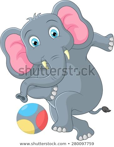 rajz · elefánt · labda · mosolyog · buli · gyermek - stock fotó © jenpo