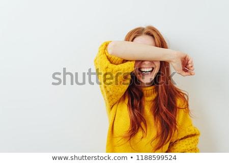 Riendo mujer mano pelo hermosa juguetón Foto stock © dash