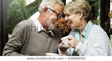 Foto stock: Feliz · sorridente · casal · restaurante · jantar · sessão