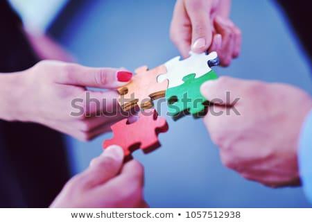 Csoport üzletemberek kirakós játék csapat támogatás segítség Stock fotó © dotshock