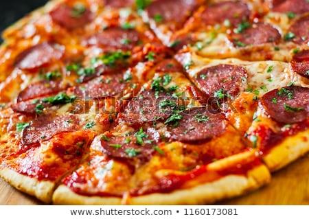 Peperoni pizza macro shot focus Stockfoto © stevanovicigor