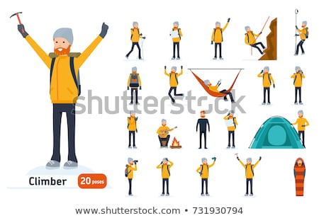 Berg uitrusting ingesteld poster man sport Stockfoto © krabata