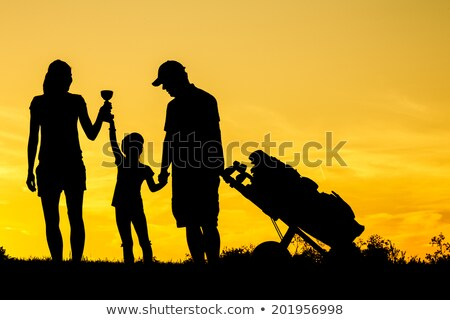 Familie golf silhouetten volwassenen kinderen Stockfoto © koqcreative