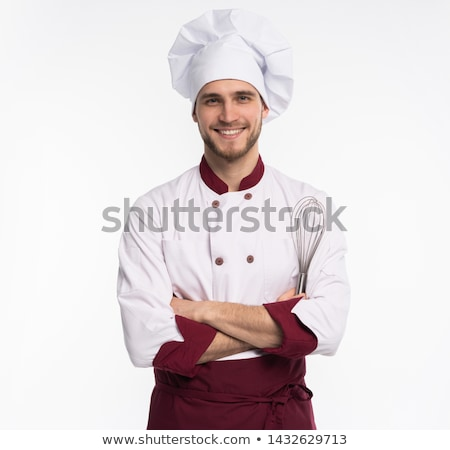 Male chef smiling and looking at the camera isolated on white stock photo © laindiapiaroa