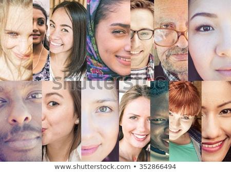 молодые · люди · лицах · девять · лице · портретов - Сток-фото © lenm