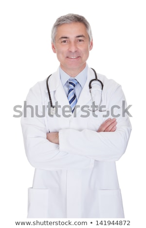 doctor senior expertise gray hair on white Stock photo © lunamarina