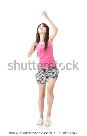 молодые азиатских женщину мнимый веревку изолированный Сток-фото © elwynn