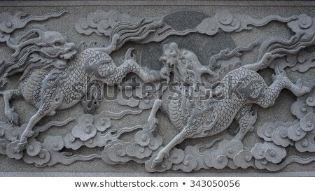 Qilin (Kylin, Chinese unicorn) carving at temple Stock photo © elwynn