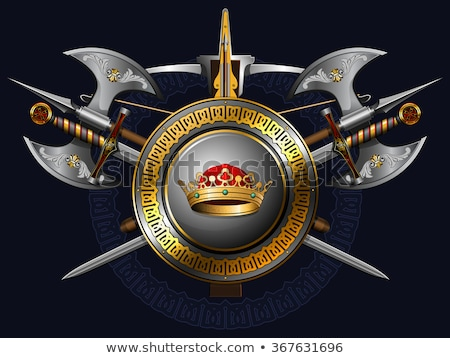 Shield with a sword and axe  Stock photo © vipervxw