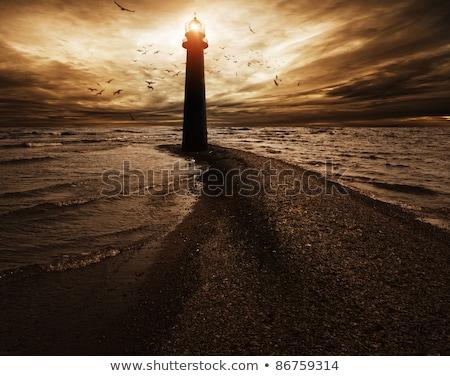 tempestuoso · céu · farol · pôr · do · sol · luz · oceano - foto stock © pxhidalgo