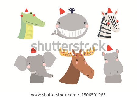Merry baby Santa elephant Stock photo © adrian_n