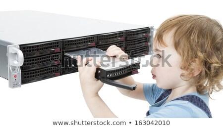 cute child with network server Stock photo © gewoldi
