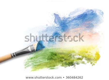 Kunstenaar borstel schilderij hemel blauwe hemel wolken Stockfoto © Grazvydas
