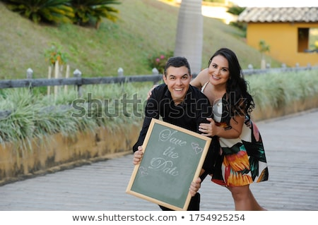 young woman holding a frame stock photo © photography33