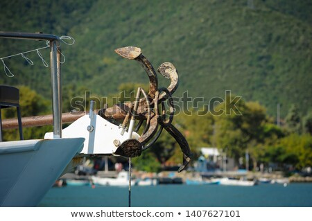 boat bow with anchor detail of sailboats in a row stock photo © lunamarina