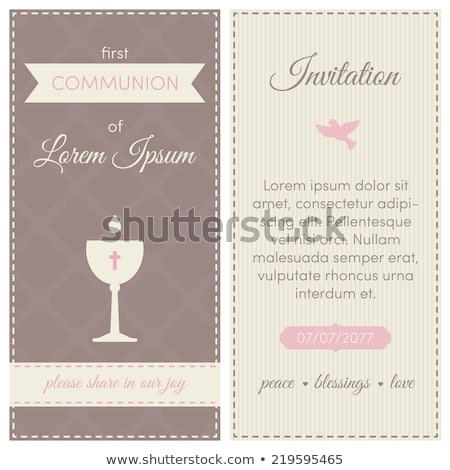 brown girl  first communion invitation card Stock photo © marimorena