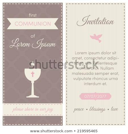 jeune · fille · première · communion · célébrer · première · communion - photo stock © marimorena