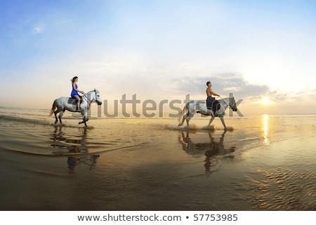 Romantique femme cheval plage été rose Photo stock © godfer