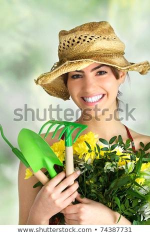 jonge · vrouw · ontspannen · bloesem · boom · voorjaar - stockfoto © anna_om