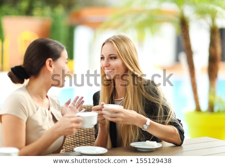People in bar with woman drinking espresso coffee stock photo © diego_cervo