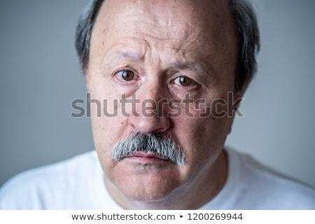Foto stock: Deprimido · homem · retrato · senior