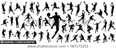 basquetebol · jogo · silhuetas · saltar · equipe · bola - foto stock © slobelix