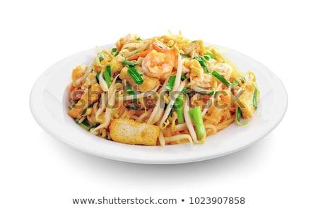 thai food pad thai stir fry noodles with shrimp stock photo © punsayaporn