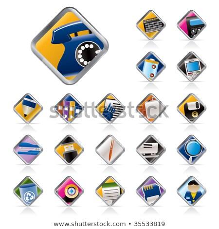 Flash Card Icon Set On Glass Buttons Zdjęcia stock © stoyanh