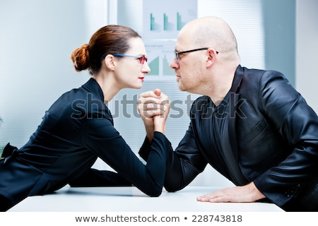 woman vs man business arm wrestling Stock photo © Giulio_Fornasar