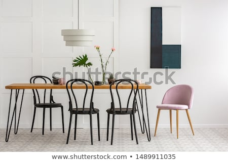 Set of wooden chair and table Stock photo © nalinratphi