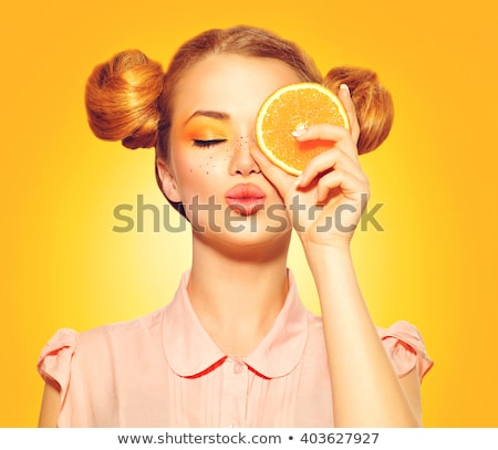 Turuncu kız güzel kadın peruk Stok fotoğraf © stevanovicigor