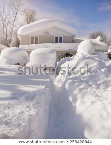 Autó csapdába esett mély hó hóvihar nagy Stock fotó © stevanovicigor